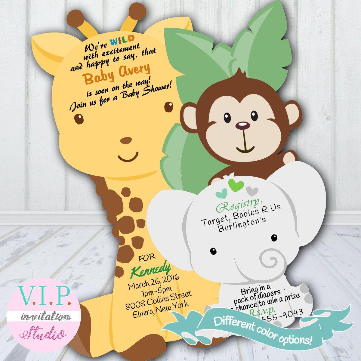 Jungle Baby Shower Invitation, Giraffe Shower Invitations, Elephant ...