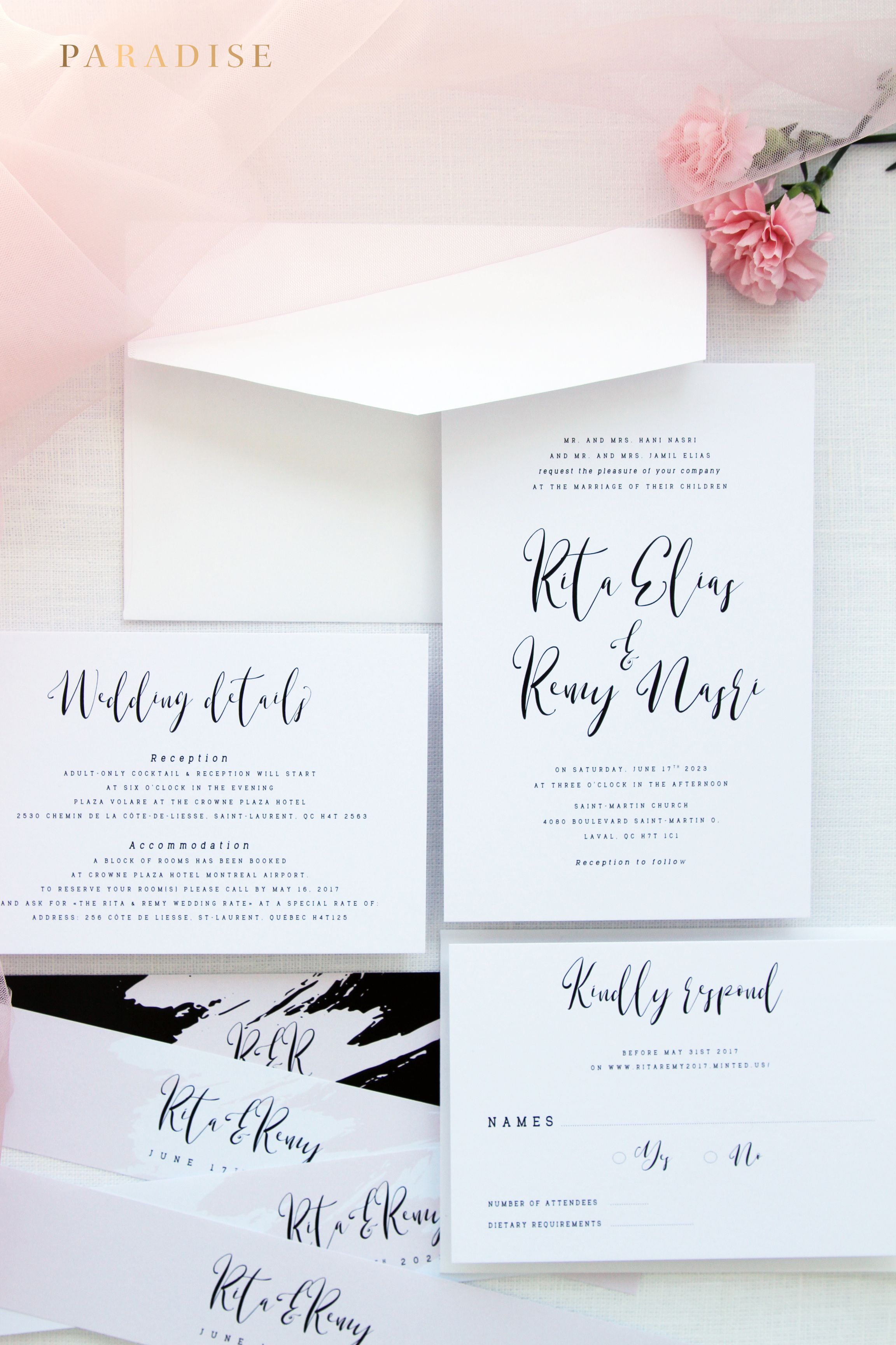 Jazmin Splash Modern Calligraphy Wedding Invitation Sets Wedding