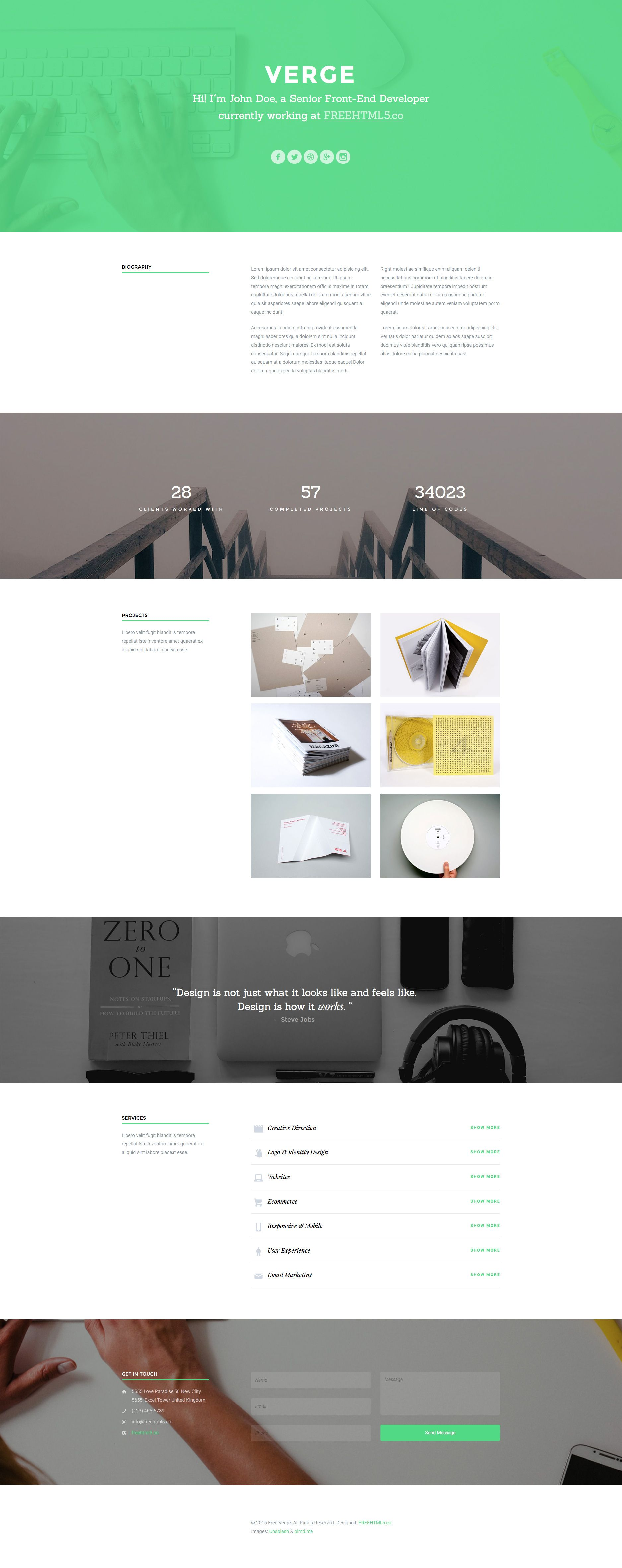 Verge is a free HTML5 Bootstrap One page Portfolio website template ...
