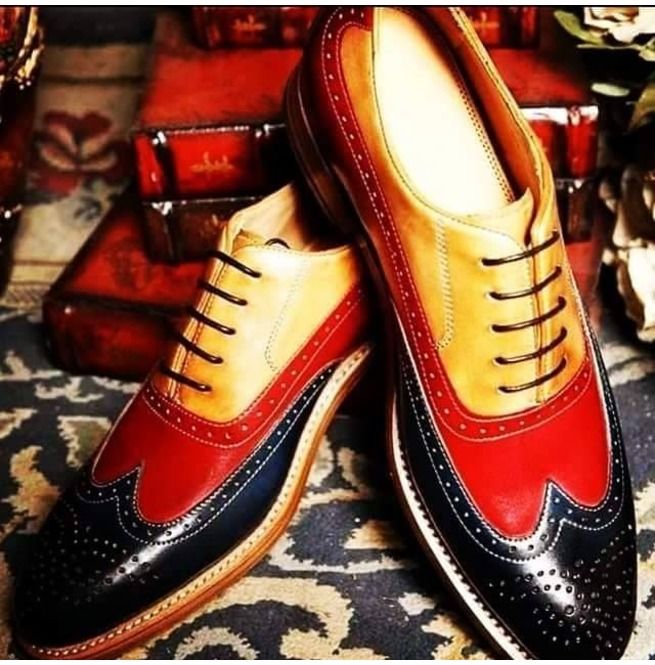 Handmade Men Three Tone Shoes, Wingtip Brogue Leather Shoes,Dress Shoes is part of Shoes mens, Leather shoes men, Dress shoes men, Dress shoes, Mens casual shoes, Handmade leather shoes - Handmade men three tone shoes, men wingtip brogue leather shoes,dress shoes