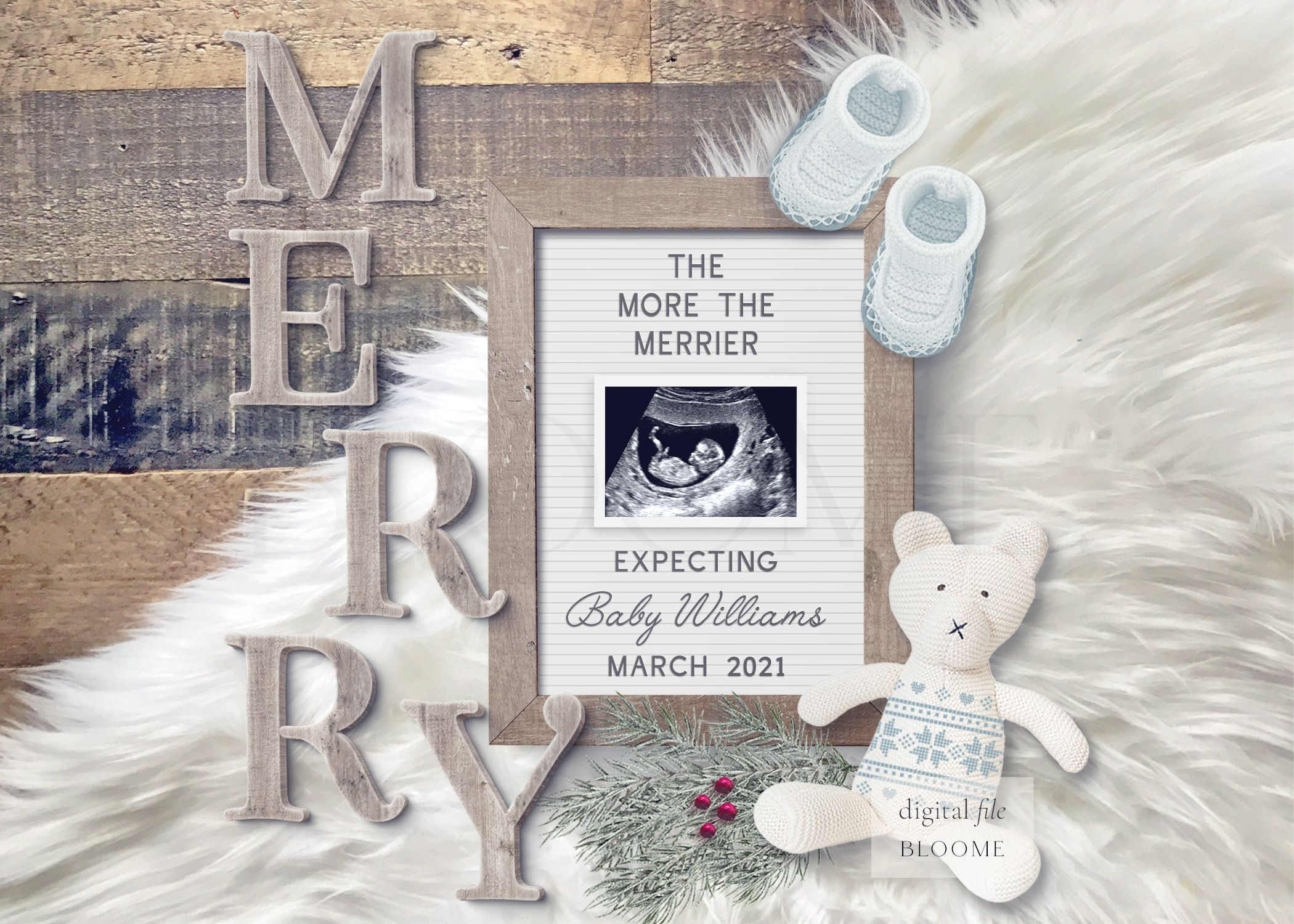 Holiday PERSONALIZED digital pregnancy announcement for social media custom baby announcement gender reveal instagram Christmas letter board