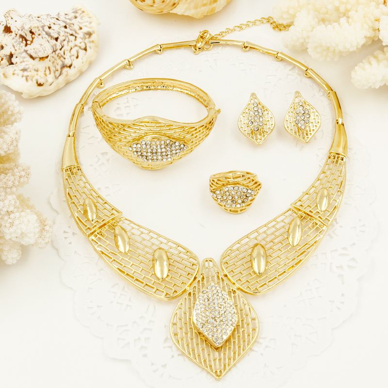 Free Shipping New Arrival Big Necklace Earrings Sets Fashion Dubai African  Gold Plated Jewelry Sets free shipping 6cbe5827f54a