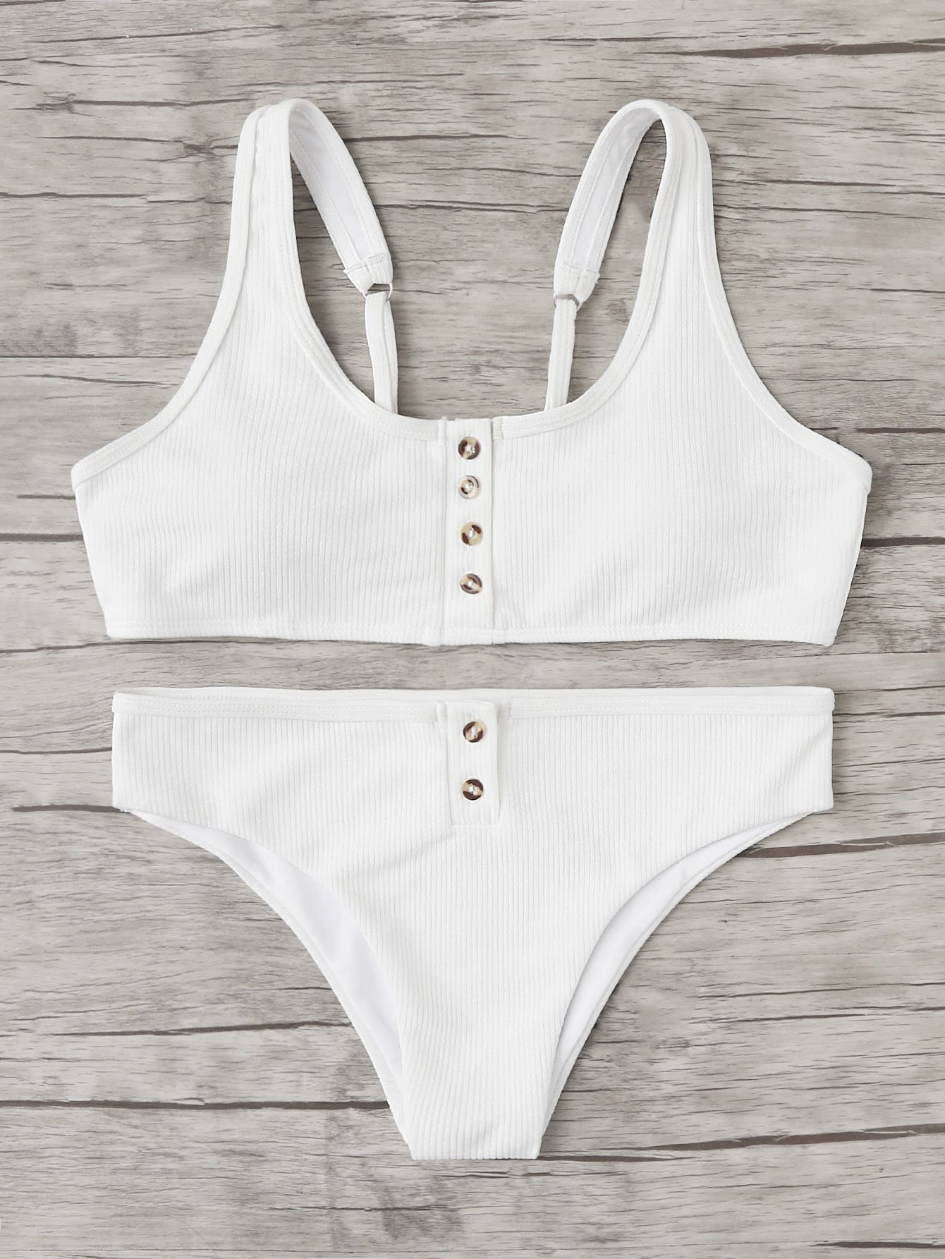69fda9af8c Shop Button Front Bikini Set online. SheIn offers Button Front Bikini Set &  more to
