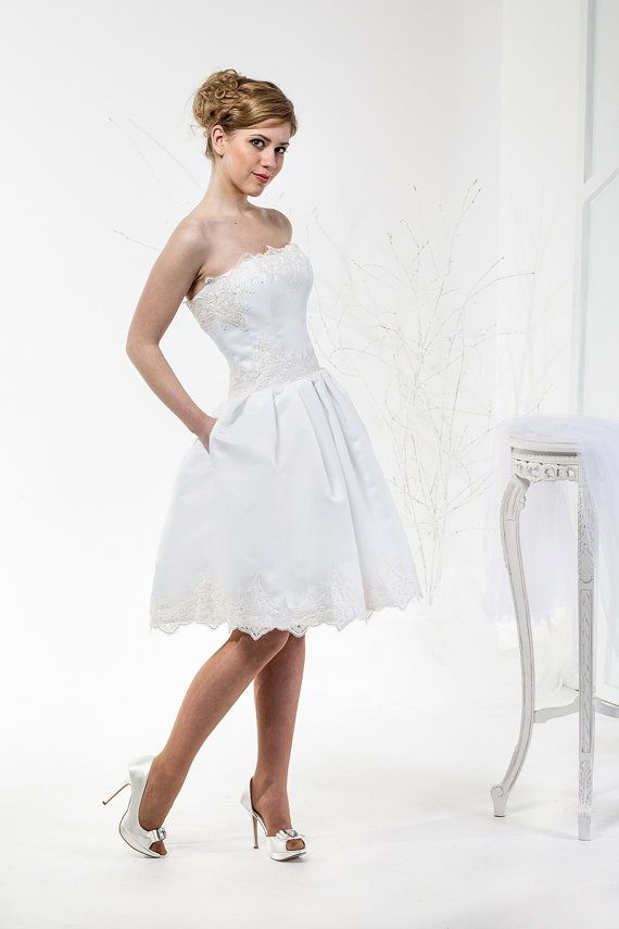 Alita | Vintage Inspired Tea Length Wedding Dress with Pockets, Lace ...