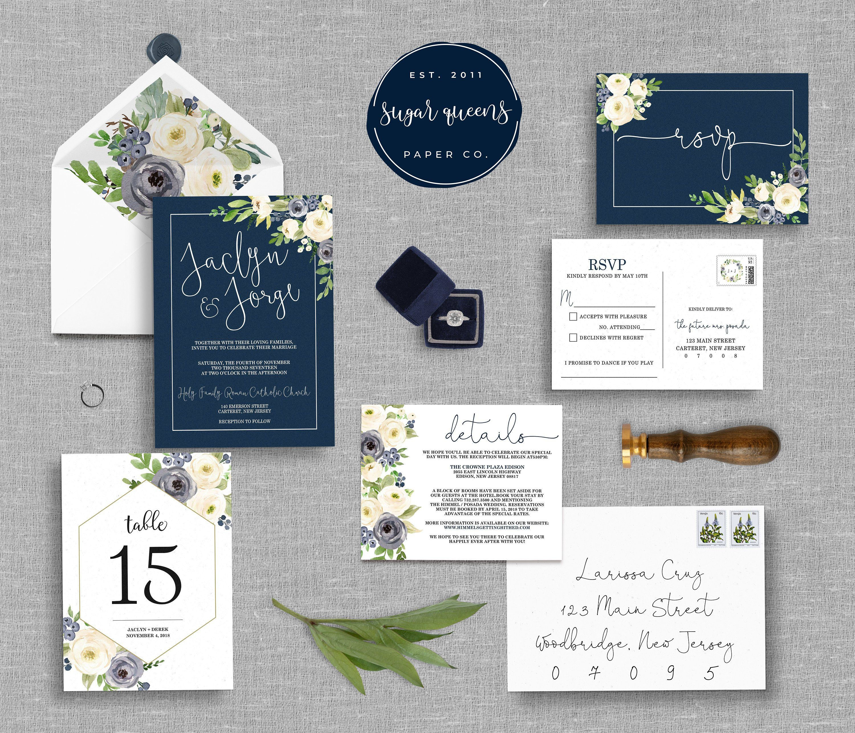 Digital Navy Cream Fl Wedding Invitation Suite
