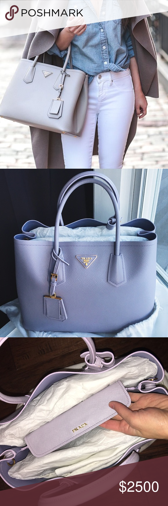 16d40d6d399f inexpensive 100 brand new prada saffiano cuir double bag. price reduce  b7e2a 082f1  discount 30 price drop prada saffiano cuir double tote this  rare ...