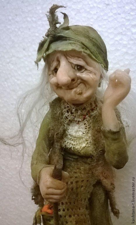 """Купить Ягуля """"Ай - ай !"""" - хаки, Яга, сказка, авторская кукла, коллекция"""
