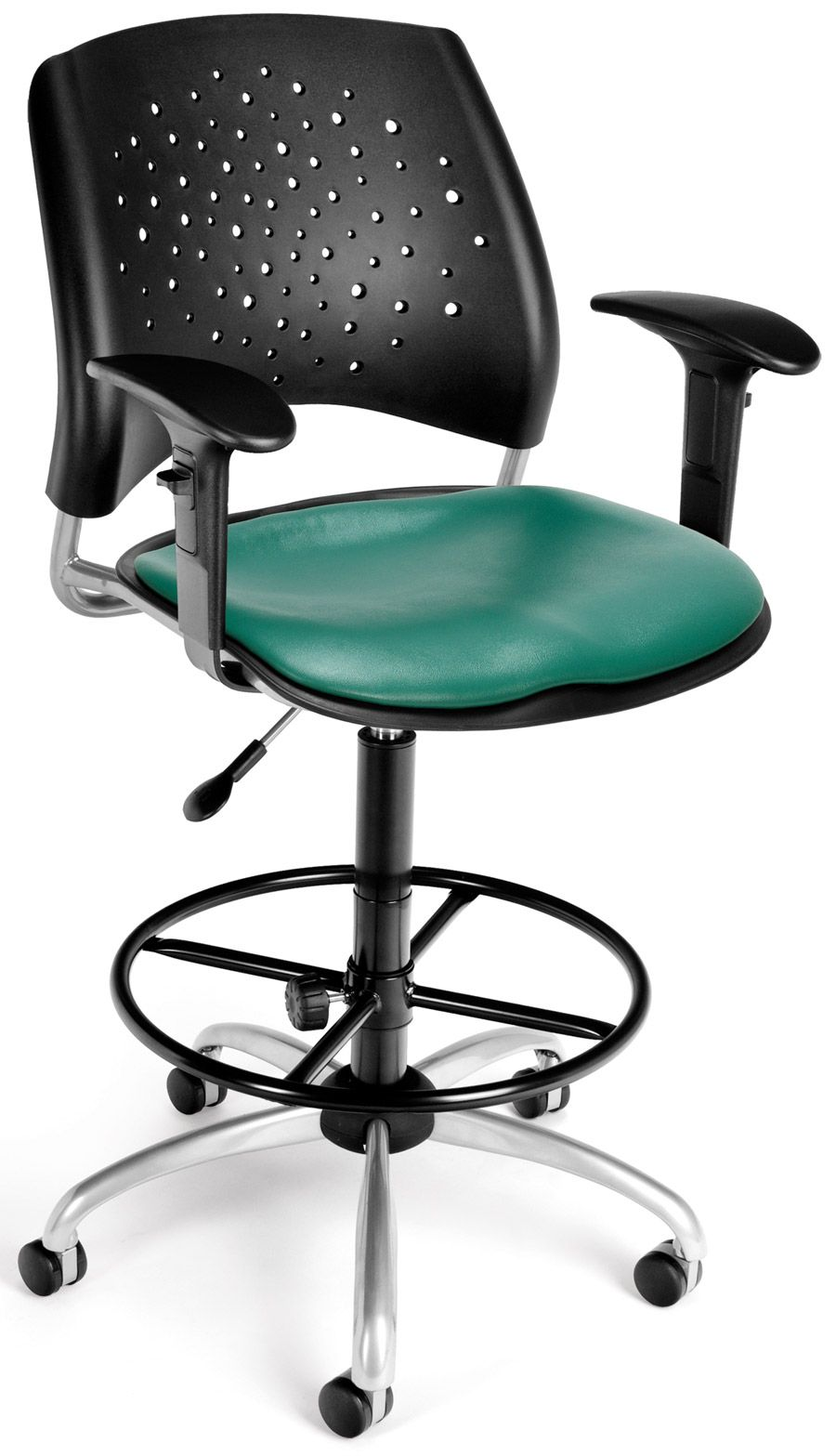 Vinyl Seat Star Swivel Drafting Chair With Arms And Drafting Kit Teal$273.99