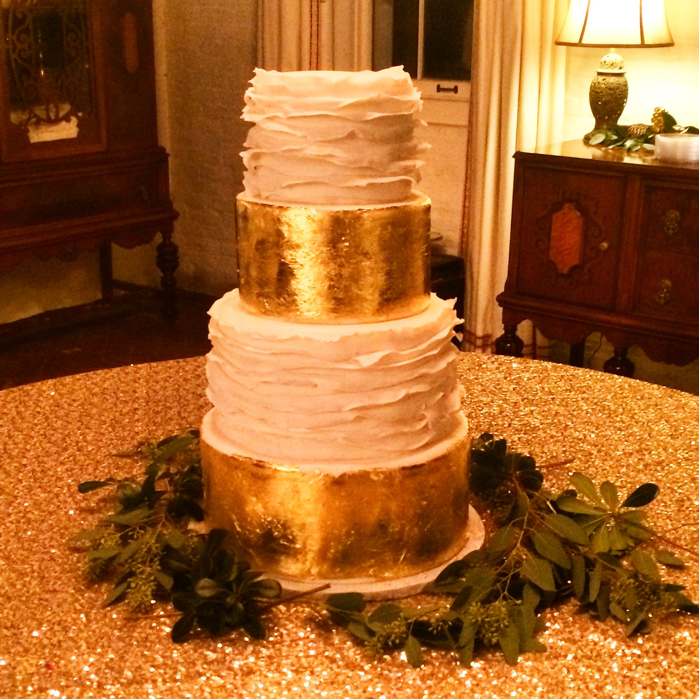 Four Tiered Fondant Ruffle And Gold Leaf Wedding Cake By Les Amis