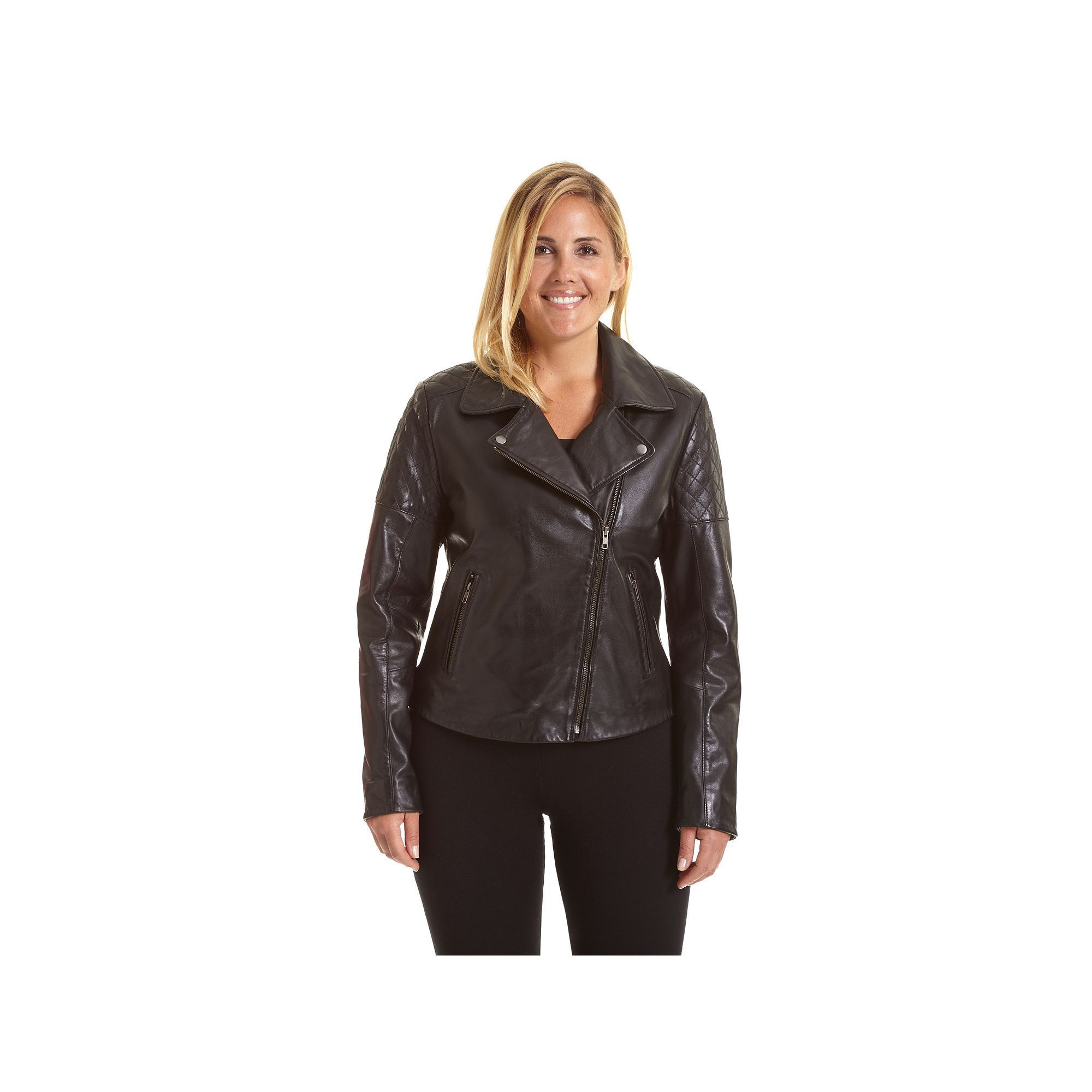 5e27608eec8d Plus Size Excelled Asymmetrical Leather Motorcycle Jacket
