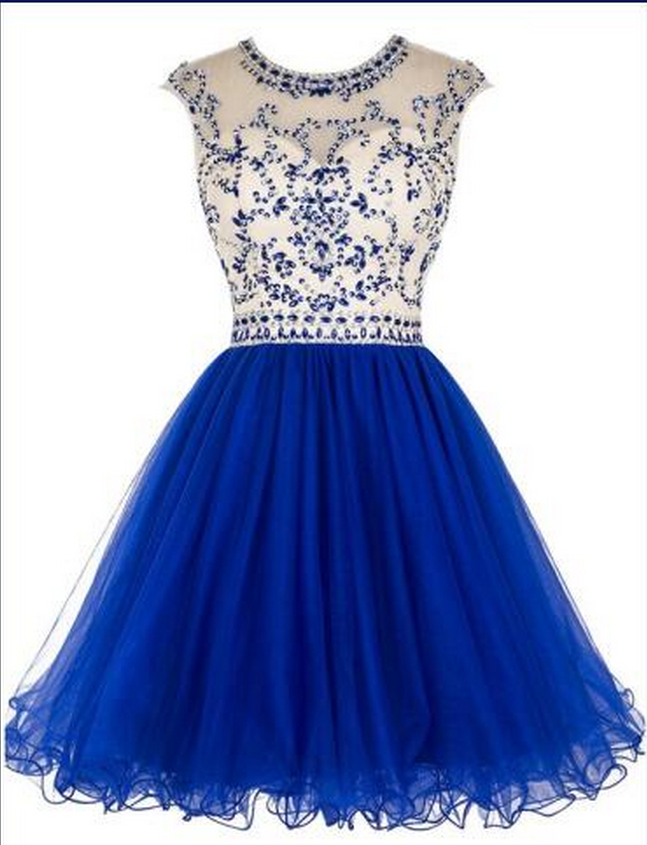 Rhinestone Homecoming Dresses, Organza Homecoming Dresses, Cap Sleeve