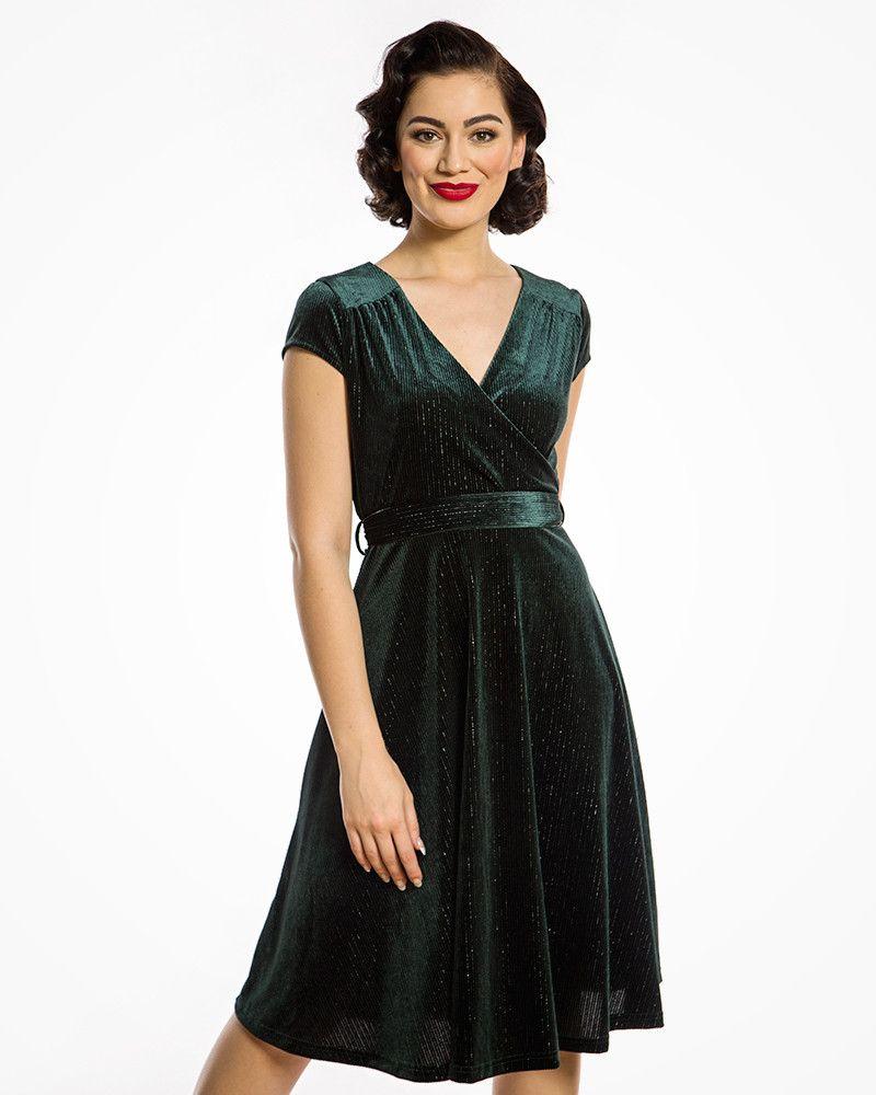 Dawn Green Velvet Swing Dress Vintage Inspired Dresses Lindy Bop Dresses Green Velvet Dress Velvet Dress [ 1000 x 800 Pixel ]