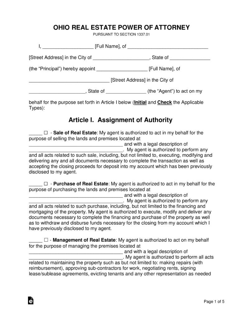 power of attorney form real estate  Free Ohio Real Estate Power of Attorney Form - Word | PDF ...