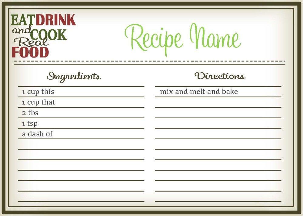 Real Food Recipe Cards DIY, Editable Real foods, Real food