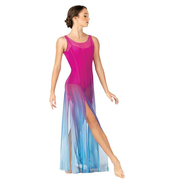 fe4095d3fa9a Adult Hand Painted Long Tank Mesh Lyrical Dress | Stage-Ready ...