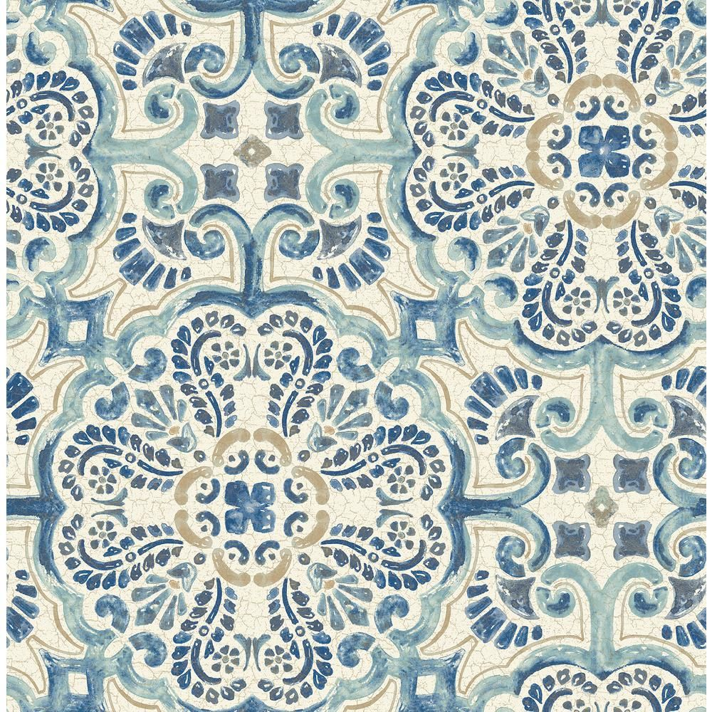 A Street Bayard Blue Tile Wallpaper Sample In 2021 Nuwallpaper Tile Wallpaper Peel And Stick Wallpaper