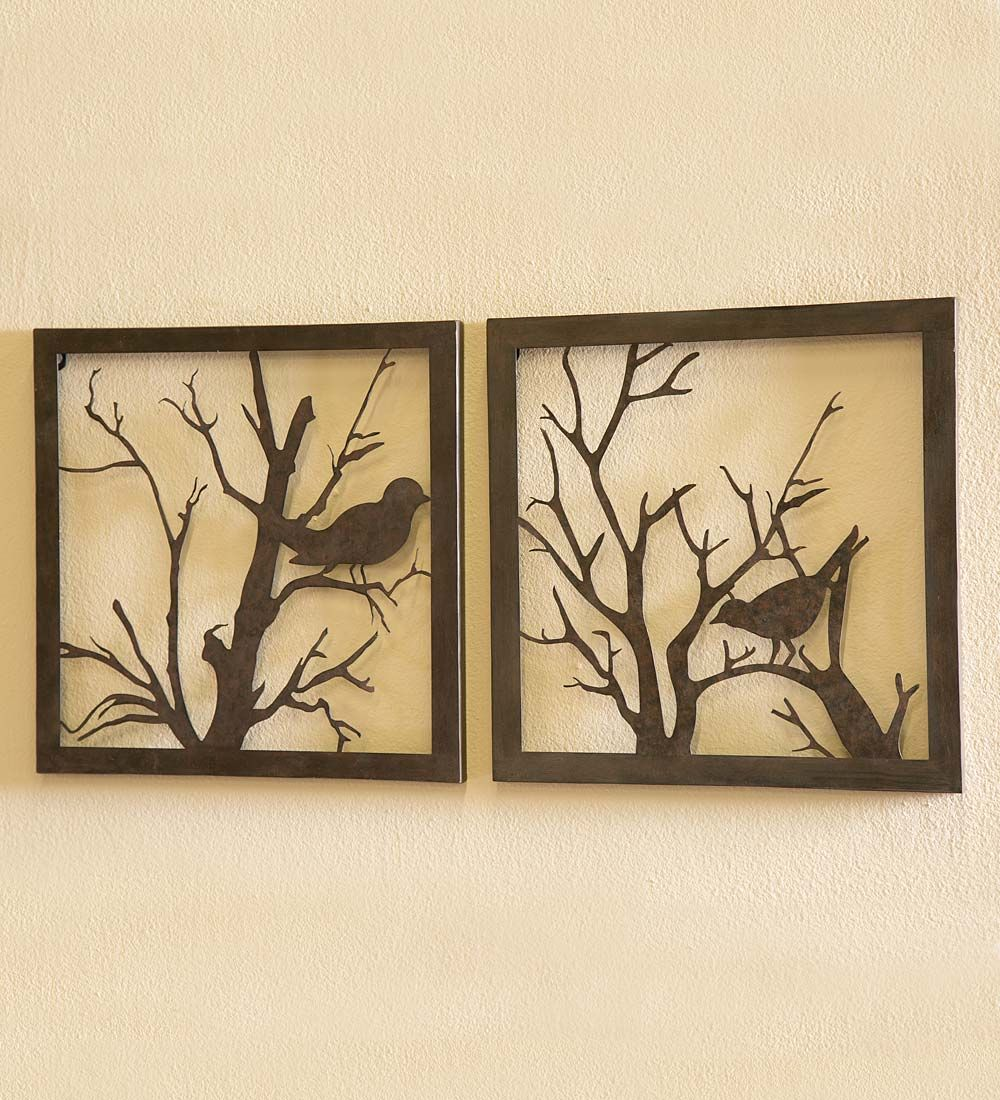 Antique Reproduction Victoria Cast Birds on a Branch Wall Hooks Set of 2