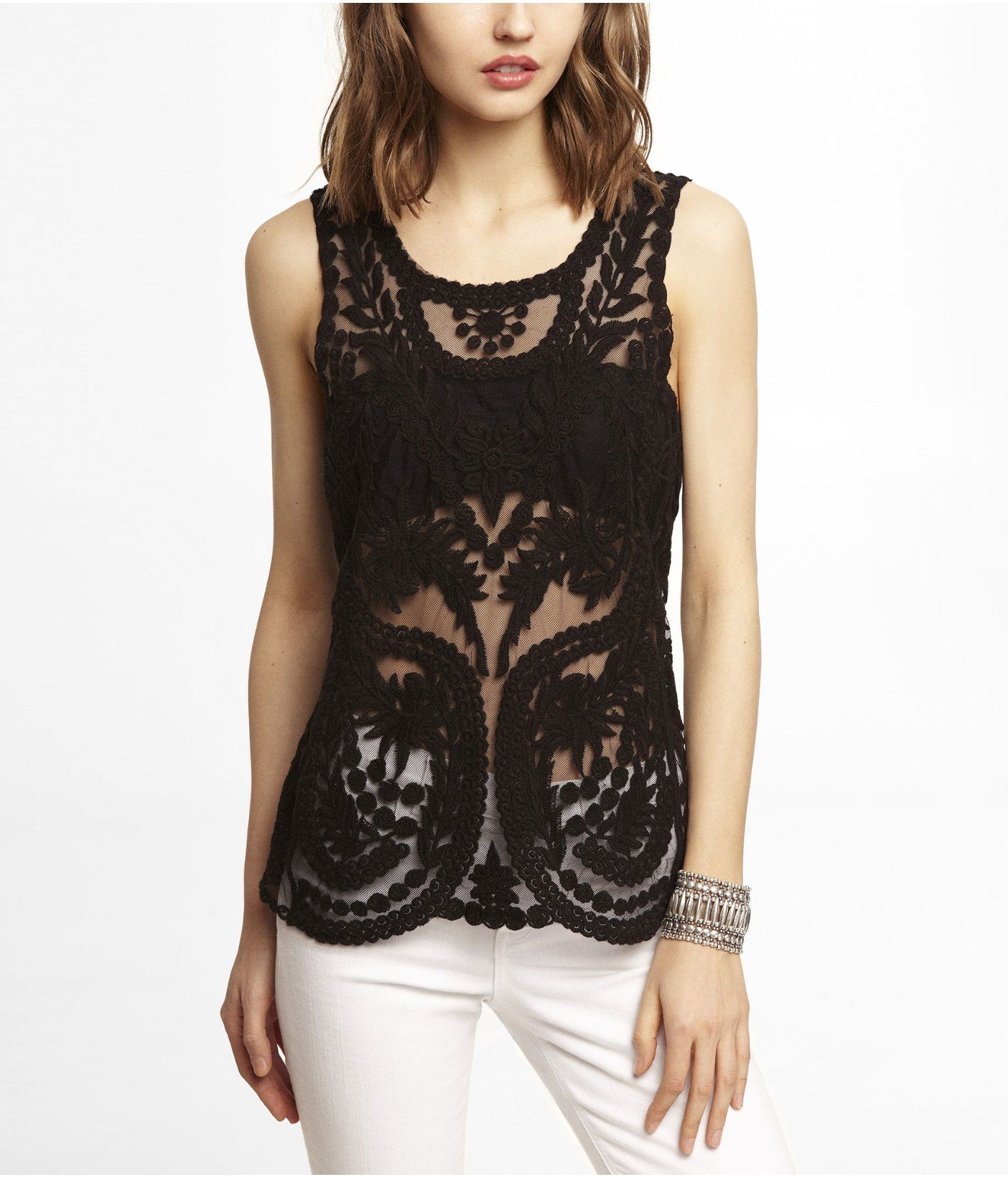 82c80dc14c7fc Express Baroque-Lace Tank in pitch black (pictured)