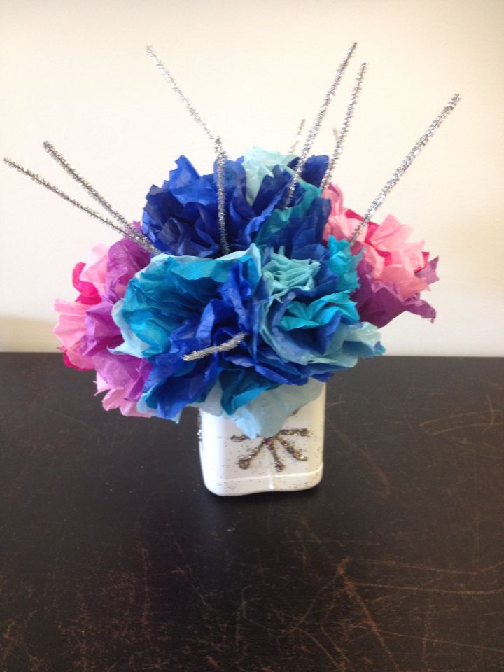 Frozen Centerpiece Made Out Of Tissue Paper Flowers Pipe Cleaners
