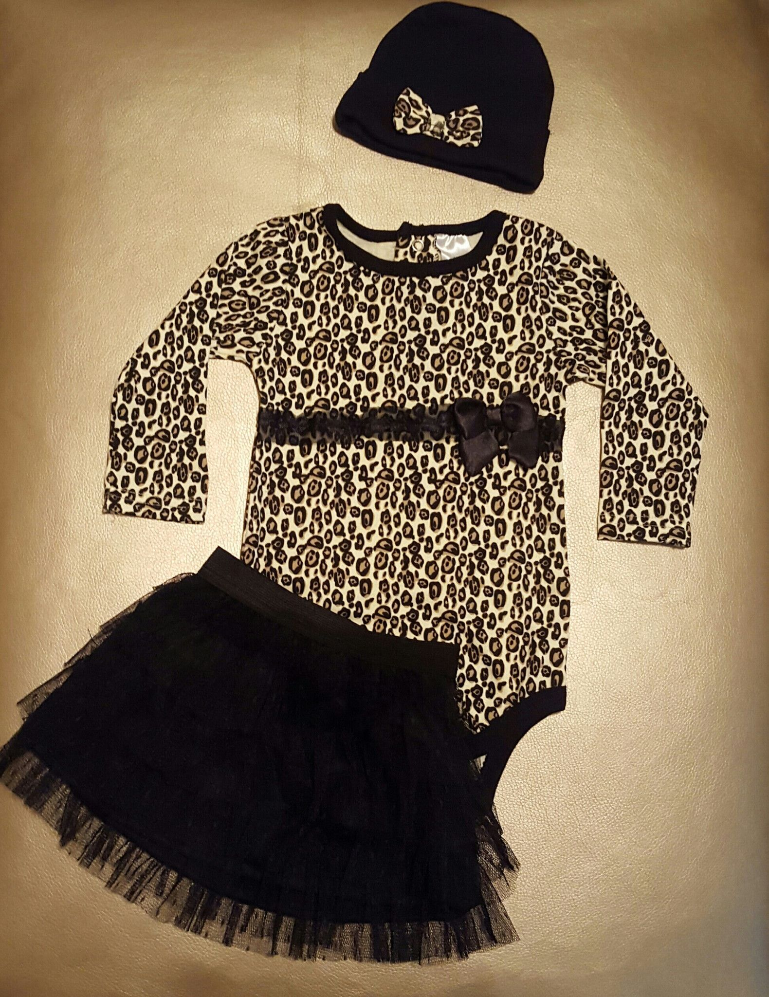 Leopard Baby Girl Clothes 3 PC Sets Long Sleeved Rompers Tutu