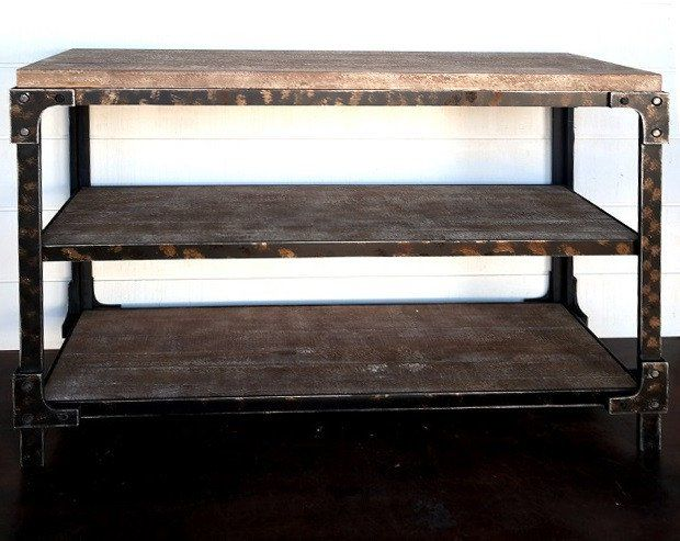 Rustic Industrial 3 Tier Console Table
