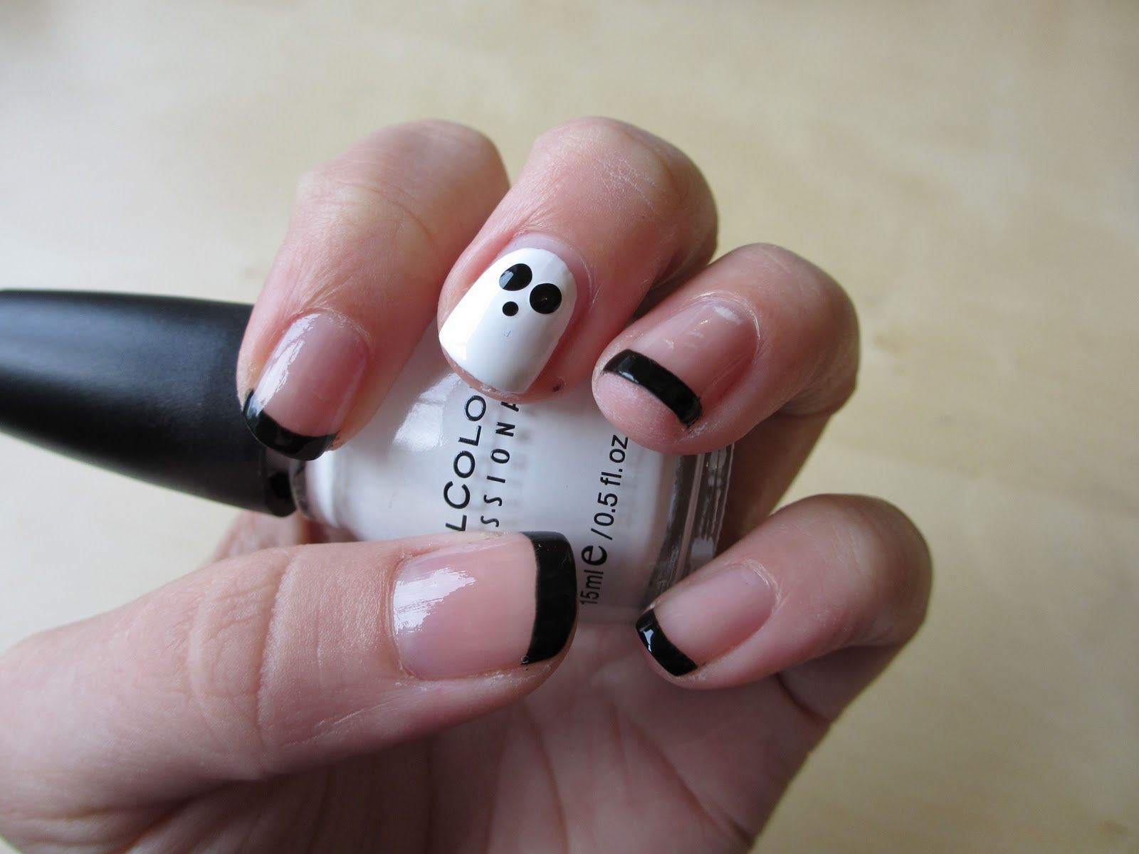Ghost Nail Designs Plain Nails With Black Tips And Single White