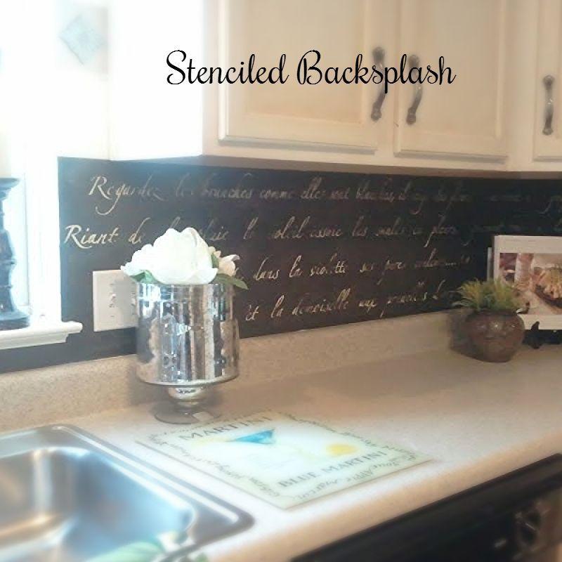 Budget Kitchen Makeover Series A Stenciled Backsplash Kitchen