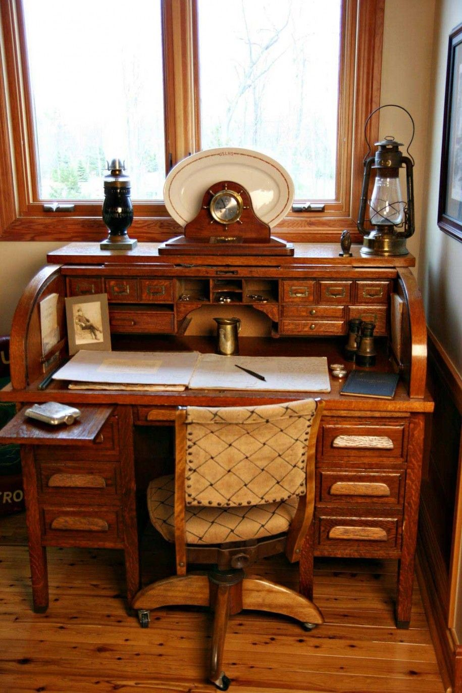Decent Study Rooms: Role-top Desk With Dark Wood Finish Reminds Me Of My Dad's