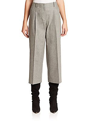 Lafayette 148 New York Finite Flannel Cropped Pants - Nickel Melange -