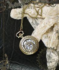 Machine Birdcage Steampunk Pierced Pocket Watch/Necklace
