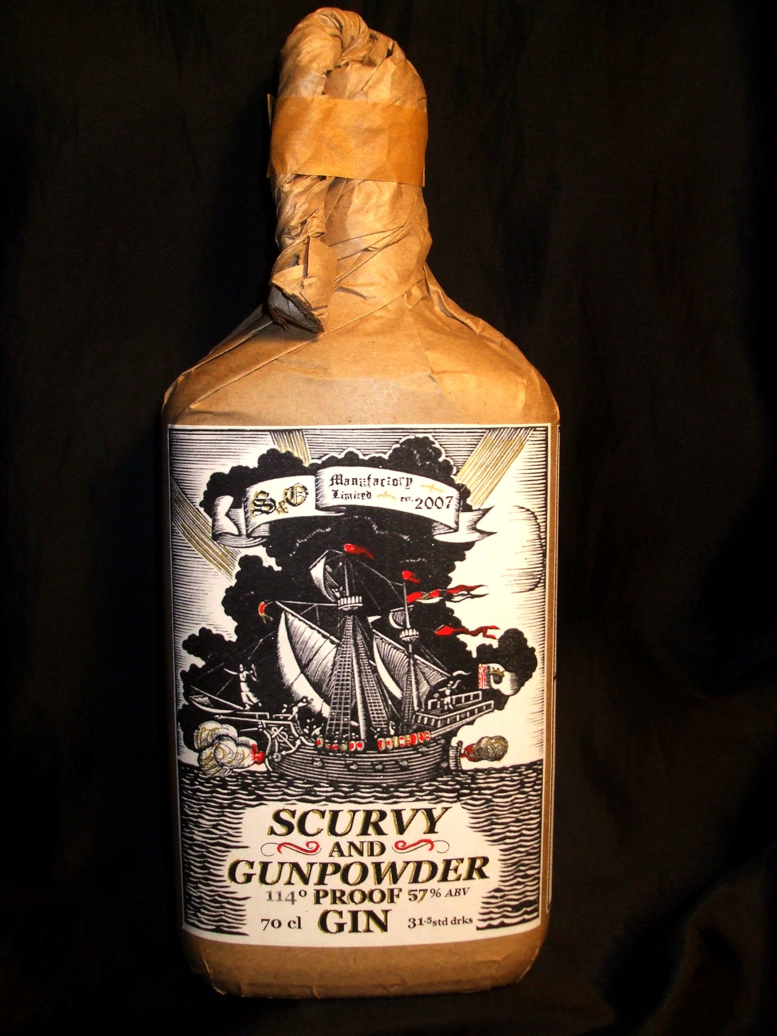s o s scurvy gunpowder proof gin 57 abv 700ml bottle a navy