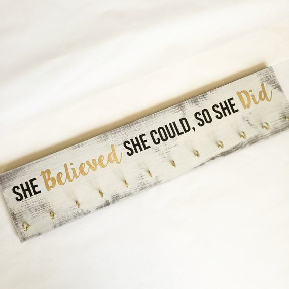 NEW SIZE Girls medal holder award holder ribbon display she believed she could so she did NEW SIZE Girls medal holder award holder ribbon display she believed she could s...