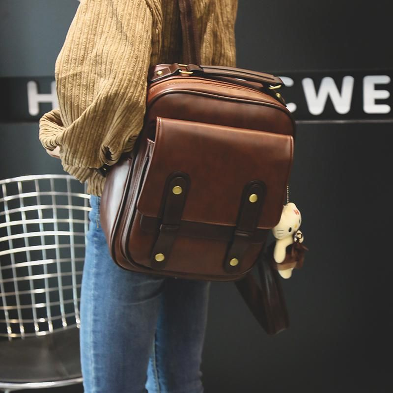 82fd13dbe7 2018 new Women Solid PU Bag Vintage London Style Backpack Korean Style  Simple Joker Student School Bag Girl Zipper Travel Bag. Yesterday s price   US  32.40 ...