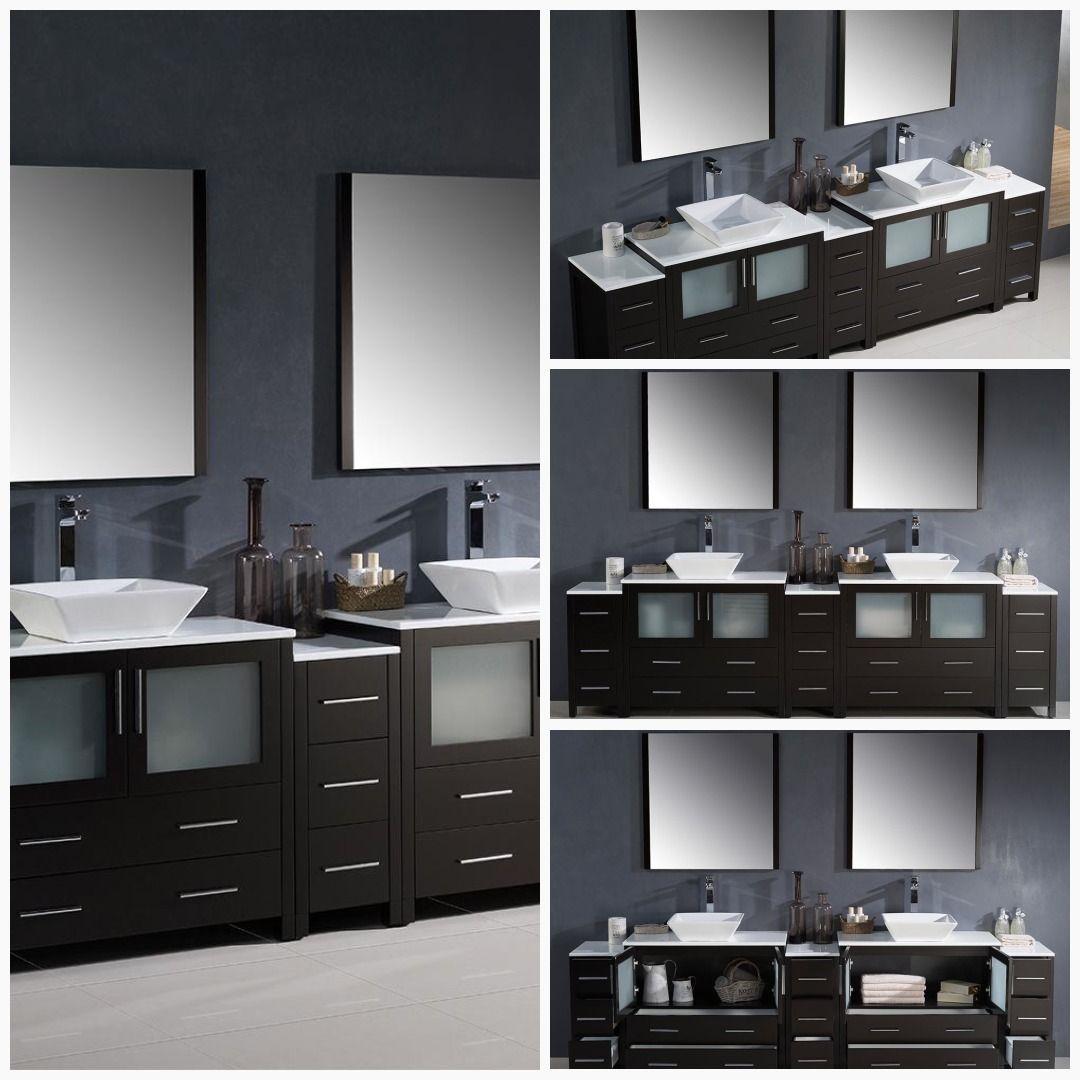 Fresca Torino 108 Espresso Double Sink Bathroom Vanity Side Cabinets Vessel Sinks Bathroo Double Sink Bathroom Vanity Bathroom Vanity Double Sink Bathroom
