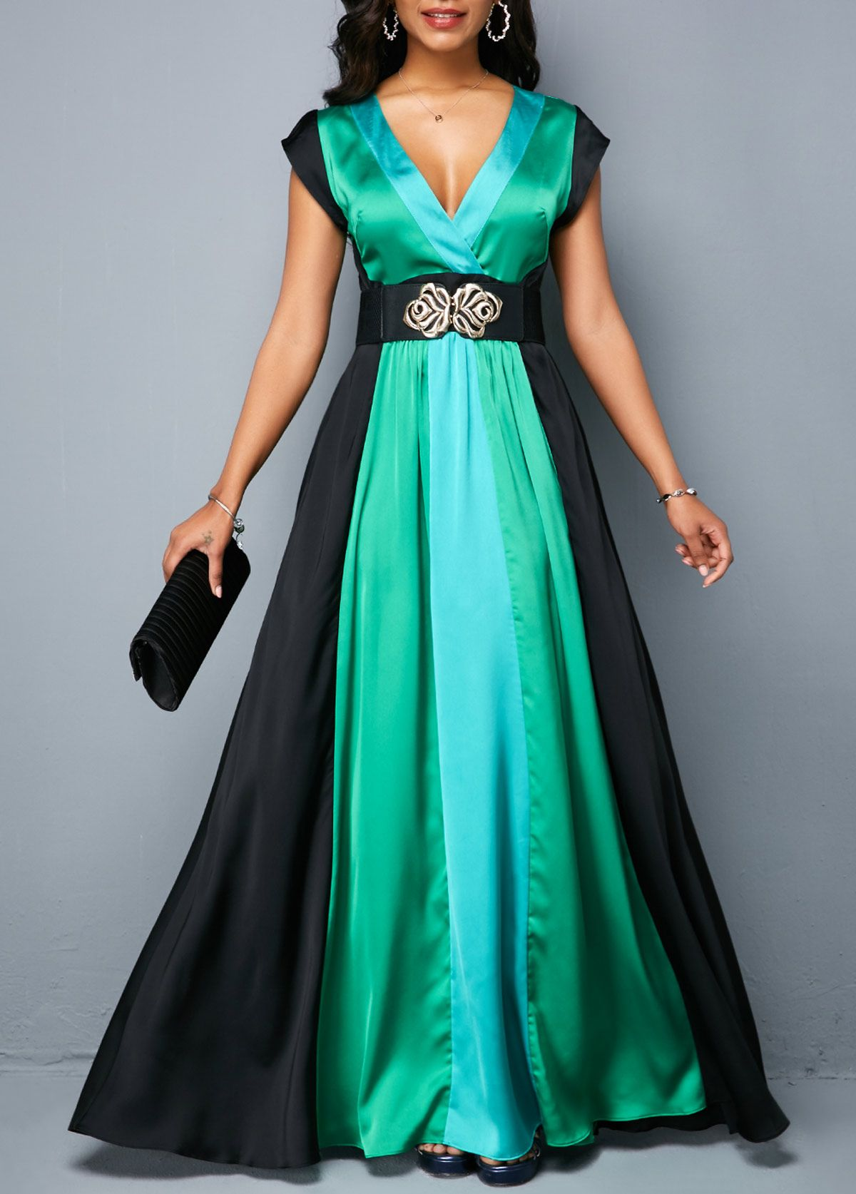 v neck belted color block maxi dress | rosewe - usd