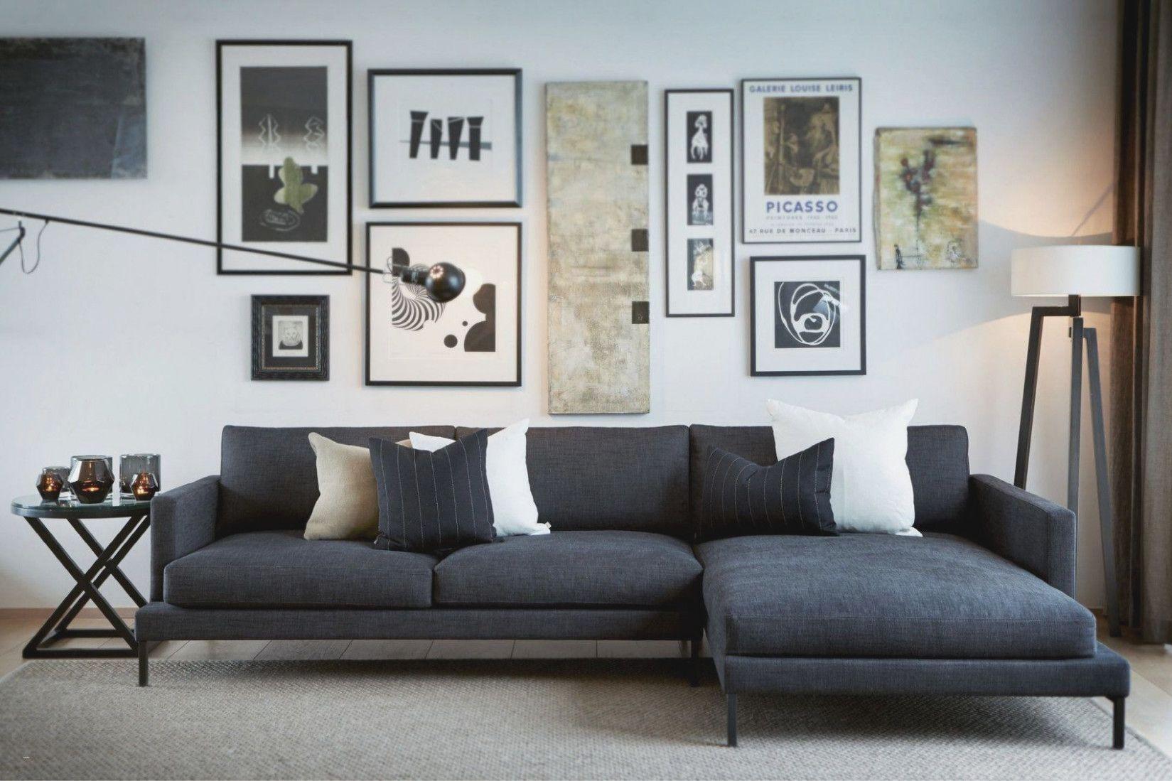 Wohnzimmer Couch Modern Grau Wandfarbe Sofa Schwarz Mit