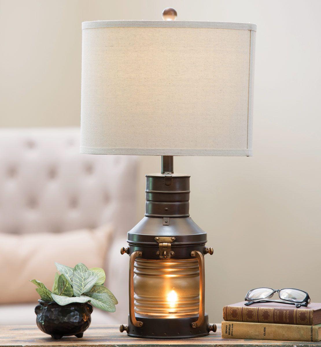 Rustic Lantern Table Lamp Iron lamp shade, Lantern table
