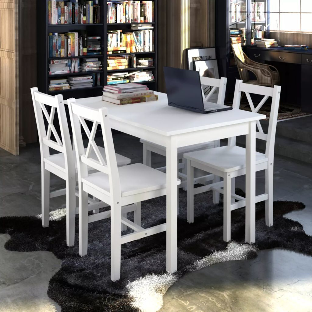 H4home White Modern Dining Table Set With 4 Chairs Solid Wood