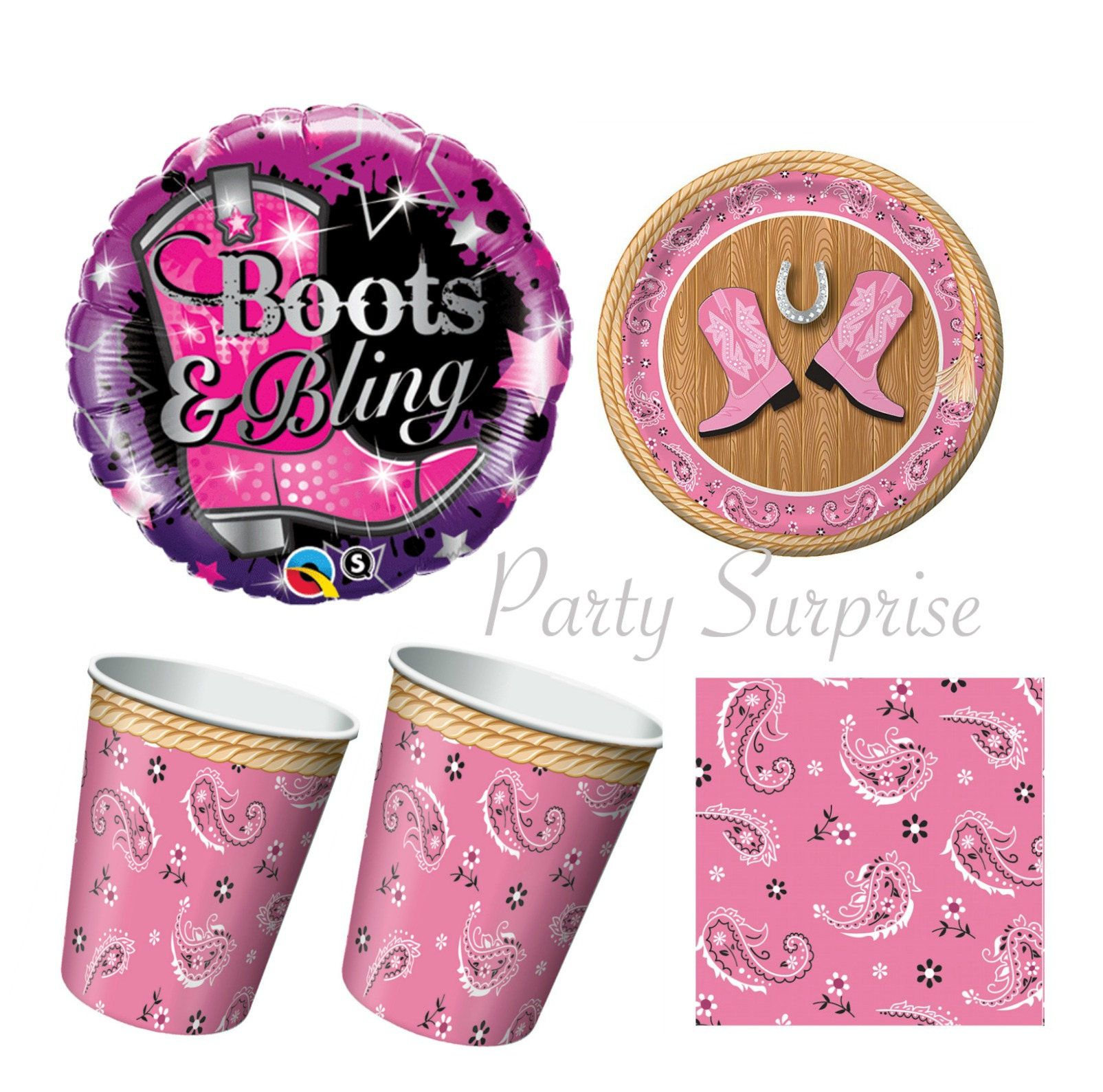 Cowgirl Party Plates Napkins Cups Balloons Pink Cowboy Boots Girl Birthday Party Paper Plates Ranch Farm  sc 1 st  Pinterest & Cowgirl Party Plates Napkins Cups Balloons Pink Cowboy Boots Girl ...