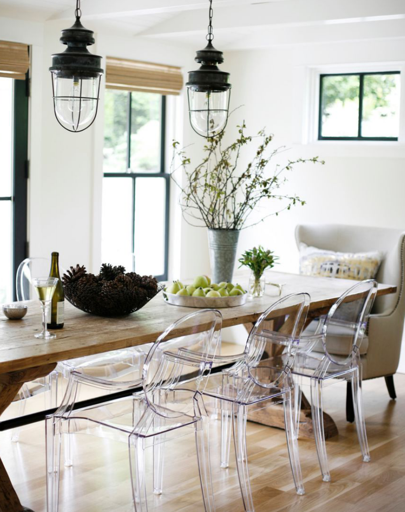 Clear Dining Room Table Love The Old Farm Table With Ghost Chairs Modern Farmhouse Rue