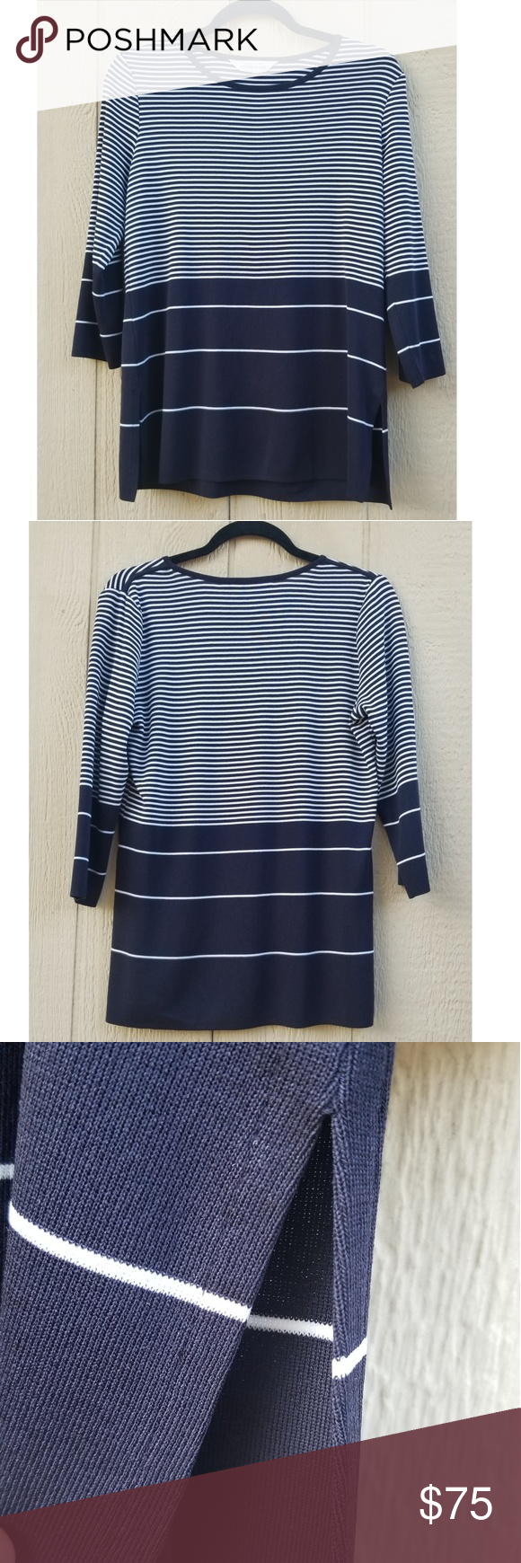 Misook Stripe Dark Navy Blue Top Navy Blue Top Blue Tops Dark Navy Blue