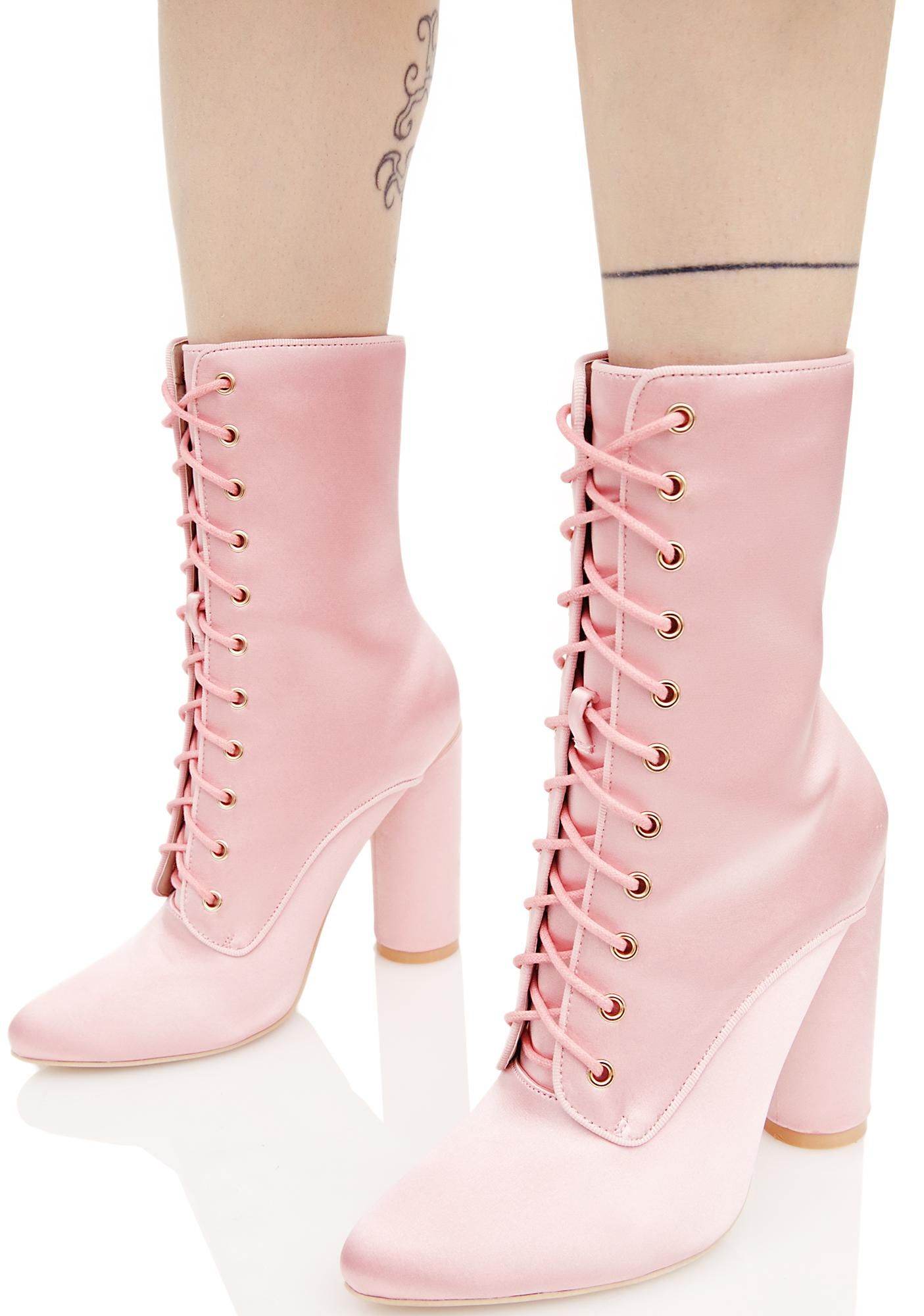 515c7e5157f So Posh Lace-Up Boots | Shoes. | Pink ankle boots, Satin shoes, Pink ...