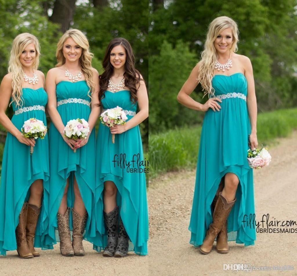 2016 Turquoise Hi Lo Bridesmaid Dresses Cheap Under 100 Modest ...