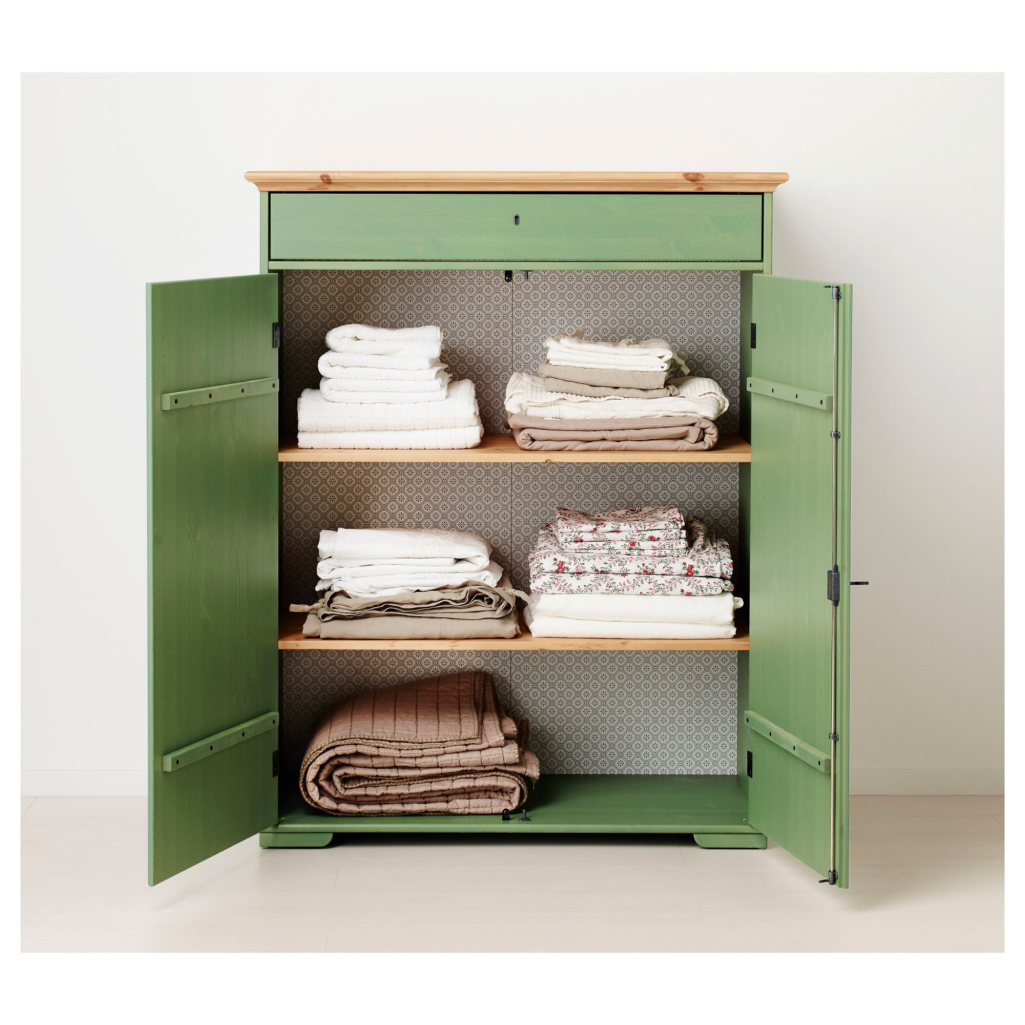 IKEA HURDAL Linen Cabinet Green Cm The Solid Pine Shows Off The Attractive  Grains And Beauty Mark Knots That Give Each Unique Piece Its Own.