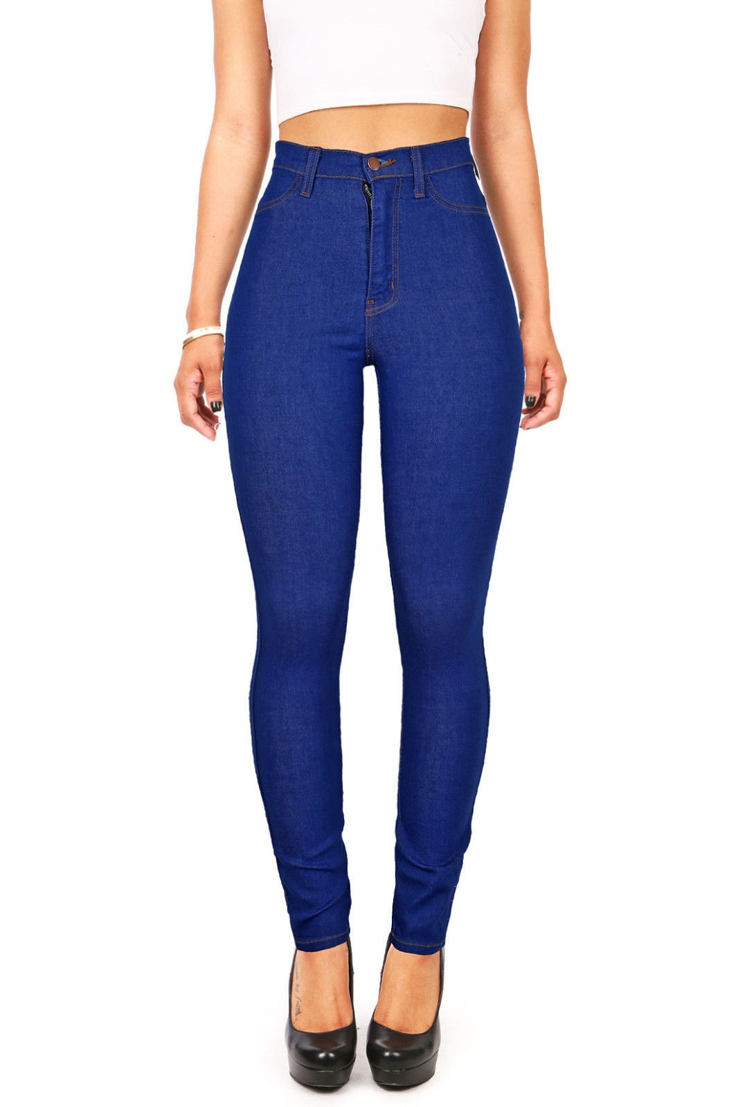 Vibrant Denim High Waist Lady Skinny Jeans High Waisted Skinnys Long Pants  USA d72e0b118