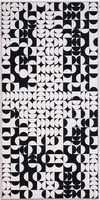 Zdeněk Sýkora, title:Black-and-White Structure (Circles) also known as:	Černo-bílá struktura (kruhy), 1968, painting, b/w, computer-generated, Oil on canvas 220 × 110 cm artwork type: