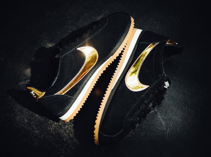 nike cortez noir et or