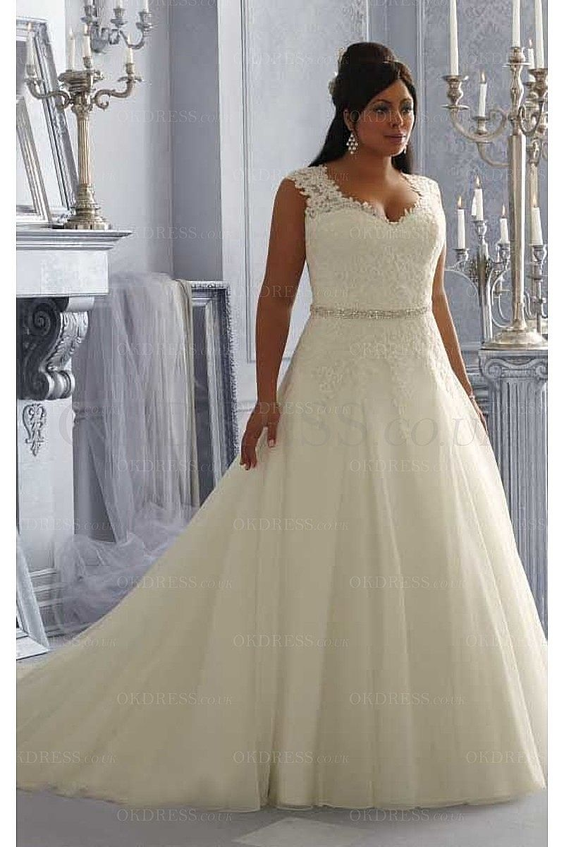 Best wedding dress for size 20  Sexy Tulle Princess Buttons Court Train Wedding Dresses  by OKDress