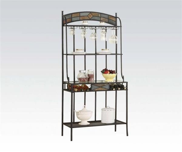 Desi Casual Slate Metal Glass Bakers Rack With Images Acme