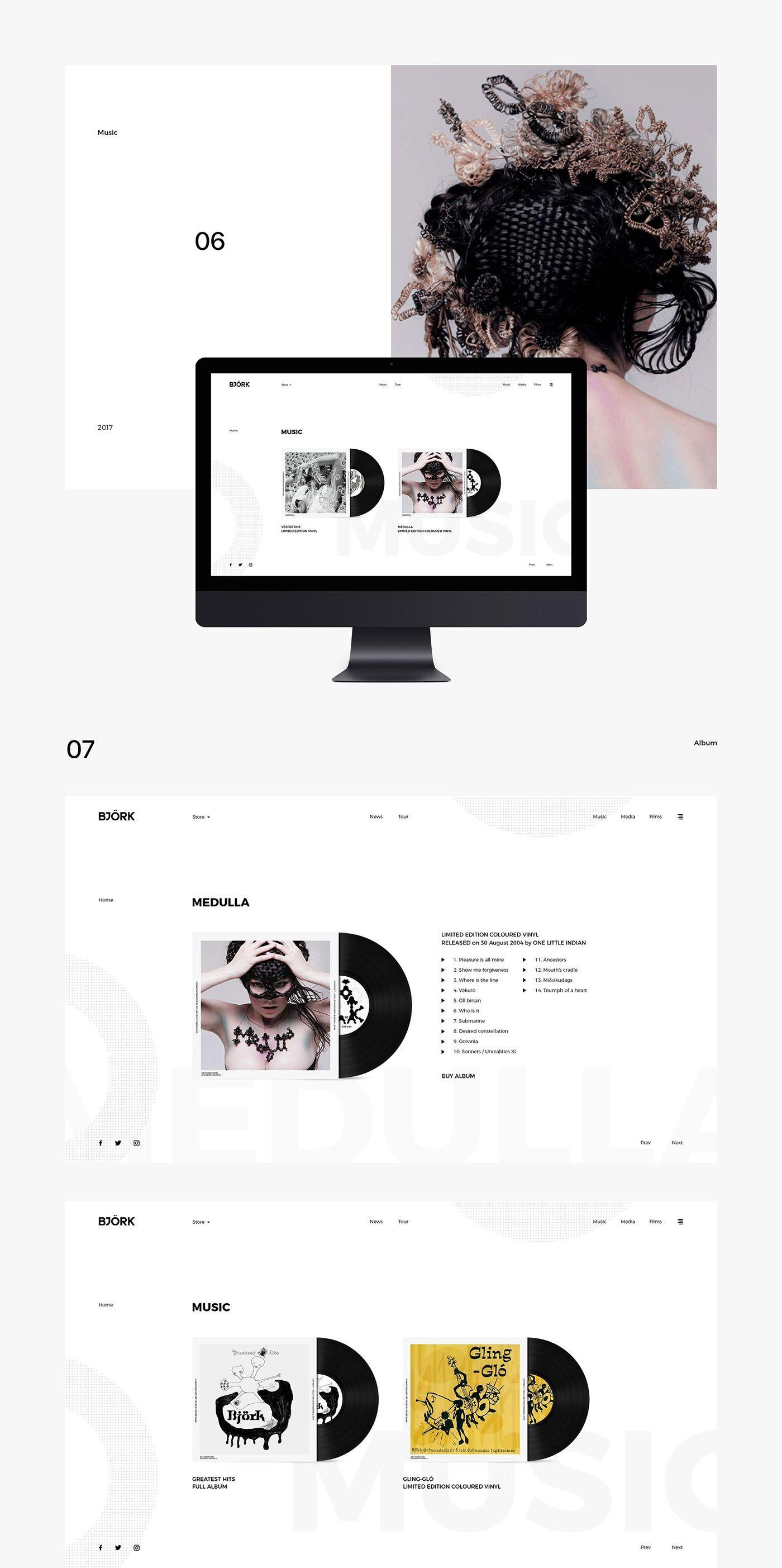 Minimalist Web Design Concept for Bjork